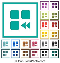 Component fast backward flat color icons with quadrant frames on white background