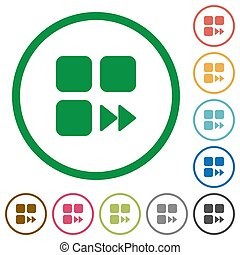 Component fast forward flat color icons in round outlines on white background