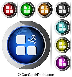 Component functions round glossy buttons