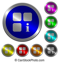 Component information luminous coin-like round color buttons