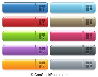 Component location engraved style icons on long, rectangular, glossy color menu buttons. Available copyspaces for menu captions.