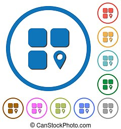 Component location flat color vector icons with shadows in round outlines on white background