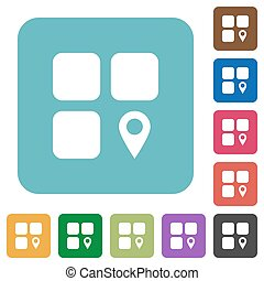 Component location white flat icons on color rounded square backgrounds
