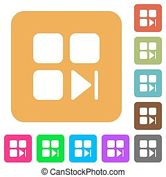 Component next flat icons on rounded square vivid color backgrounds.