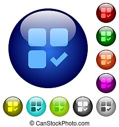 Component ok icons on round color glass buttons