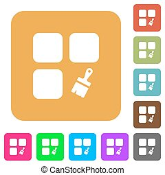 Component paste rounded square flat icons