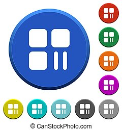 Component pause beveled buttons