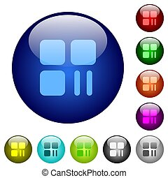 Component pause color glass buttons