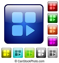 Component play icons in rounded square color glossy button set