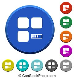 Component processing beveled buttons