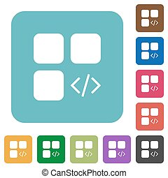 Component programming rounded square flat icons
