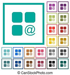 Component sending email flat color icons with quadrant frames on white background