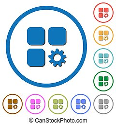 Component settings flat color vector icons with shadows in round outlines on white background
