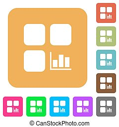 Component statistics rounded square flat icons