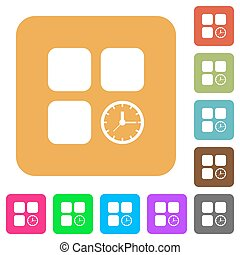 Component timer rounded square flat icons