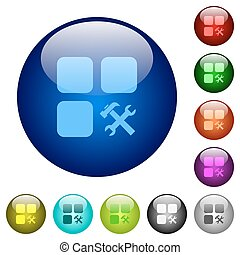 Component tools color glass buttons