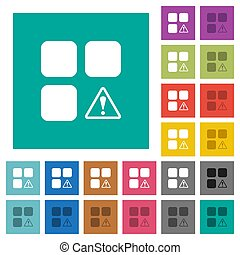 Component warning multi colored flat icons on plain square backgrounds. Included white and darker icon variations for hover or active effects.