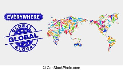 Component World Map and Grunge Global Stamp Seals