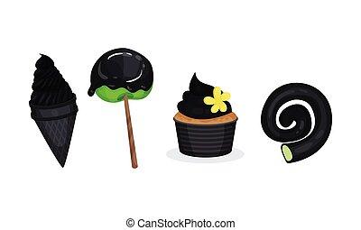 componente, conjunto, negro, color, sweeties, ilustración, ...