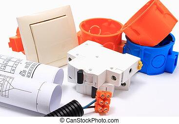 componentes, para, elétrico, instalações, e, rolos, de, diagramas