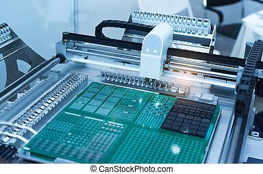 componenti, elaborazione, fabbrica, pcb, cnc, macchina, alta tecnologia, elettronico