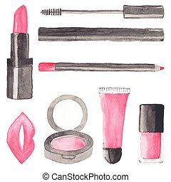 componer, stuff., conjunto, de, acuarela, belleza, artículos, en, el, fondo blanco, aquarelle., vector, illustration., hand-drawn, fondo.
