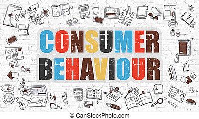 comportamento, bianco, consumatore, mattone, wall.