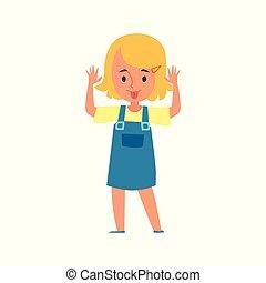 comportamento, ragazza, bambini, isolated., illustrazione, cattivo, smorfie, vettore, poco, carattere