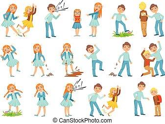 comportar, niño, conjunto, gir, más viejo, joven, intimidar,...