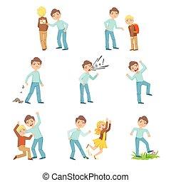 comportar, niño, conjunto, mal, más viejo, joven, intimidar, niños