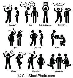 comportement, caractère, humain, homme