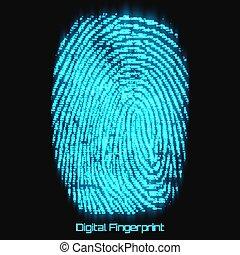 composé, bleu, dactylogram., image., balayage, verification., modèle, résumé, empreinte, futuriste, cyber, binaire, vecteur, nombres, fingerprint., numérique, représentation, glow., capteur, identité, biometric