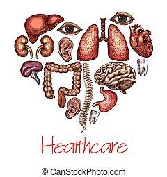 composé, coeur, croquis, orgue, symbole, santé, humain