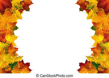 composé, feuilles automne, frontière, rond