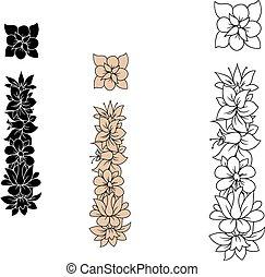 composé, feuilles, fleurs, lettre