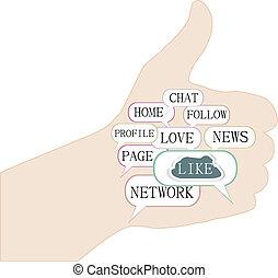 composé, média, haut, illustration, symbole, thèmes, texte, pouces, social, keywords