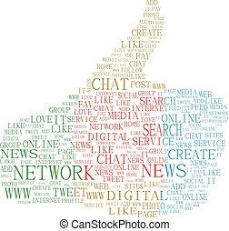 composé, média, haut, illustration, symbole, thèmes, vecteur, texte, pouces, fond, social, keywords