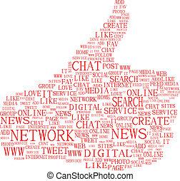 composé, média, themes., haut, illustration, isolé, texte, pouces, social, keywords, symbole, white.