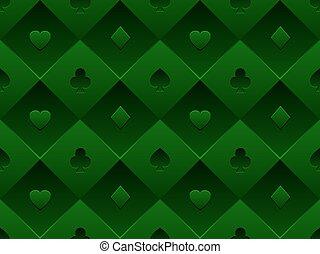 composé, poker, schéma structure, symbole, casino, seamless, texture, volume, vecteur, arrière-plan vert, minimalistic, table., carte, 3d