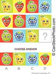 composé, tâches, coloré, q.i., logique, fruits, test.