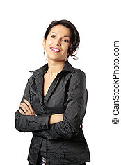 Composed Latin Business Woman Looking in Front of Her