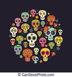 composição, círculo, forma, cranio, açúcar