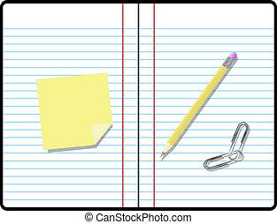 composição, caderno, com, lápis, papel, e, nota pegajosa,...