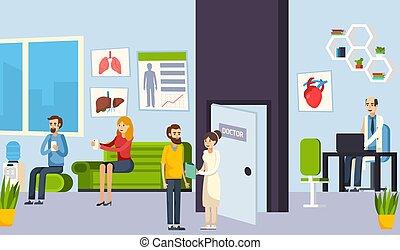 composição, clínica, sala, esperando