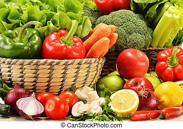 composição, com, variedade, de, verduras cruas
