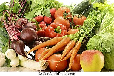 composição, com, verduras cruas, e, cesta feito vime