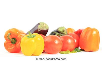 composição, com, verduras cruas, e, cesta feito vime, isolado, branco