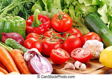 composição, com, verduras cruas