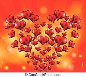 composição, coração, de, corações