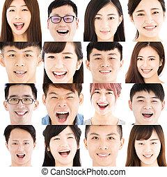 composição, de, sorrindo, asiático, jovens